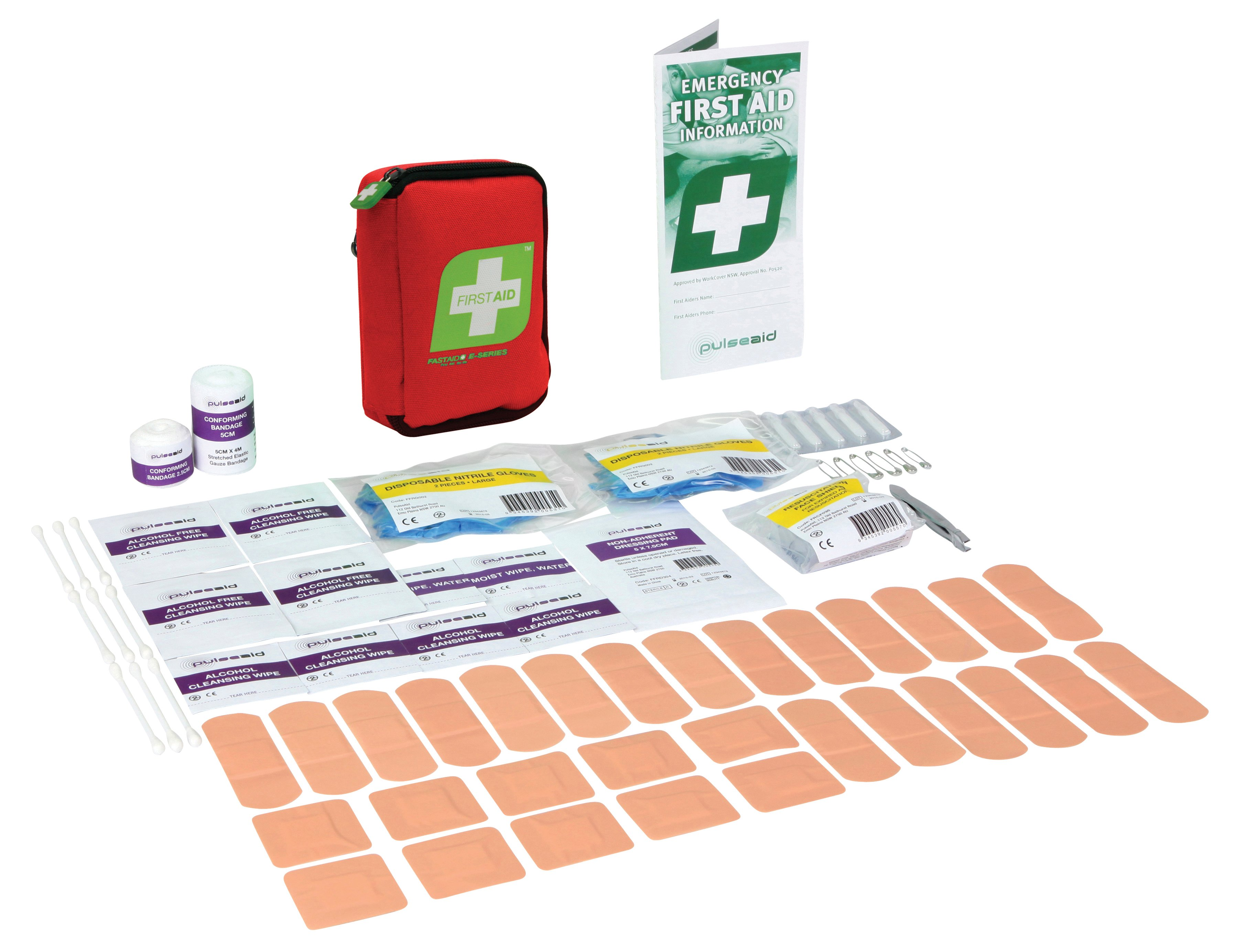 E-Series Compact First Aid Kit, Red Soft Pack